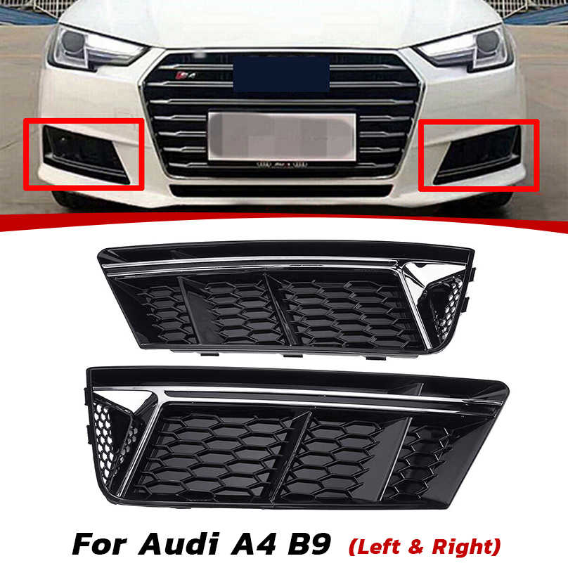 SILVER STANDARD Front Bumper Lower Fog Light Grille Cover For Audi A4 B9 2017-18