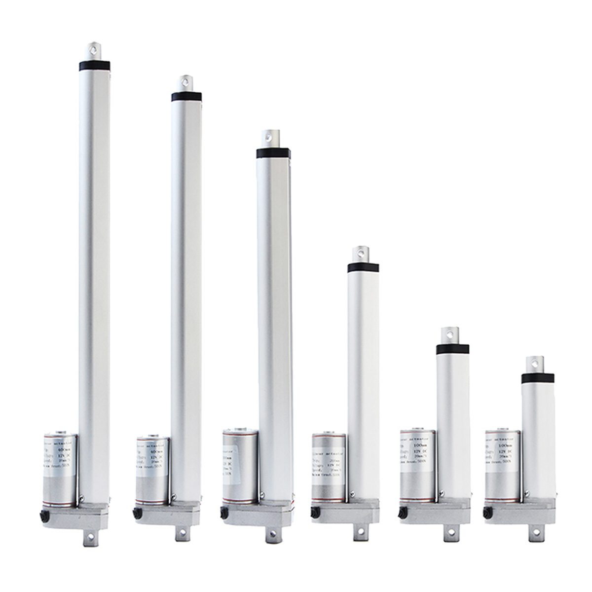 NEW 2 4 8 <font><b>12</b></font> <font><b>16</b></font> 20 inch 900N 12V 16mm / s Small DC Electric Push Rod White Material Aluminum Alloy Linear Actuator Motor image