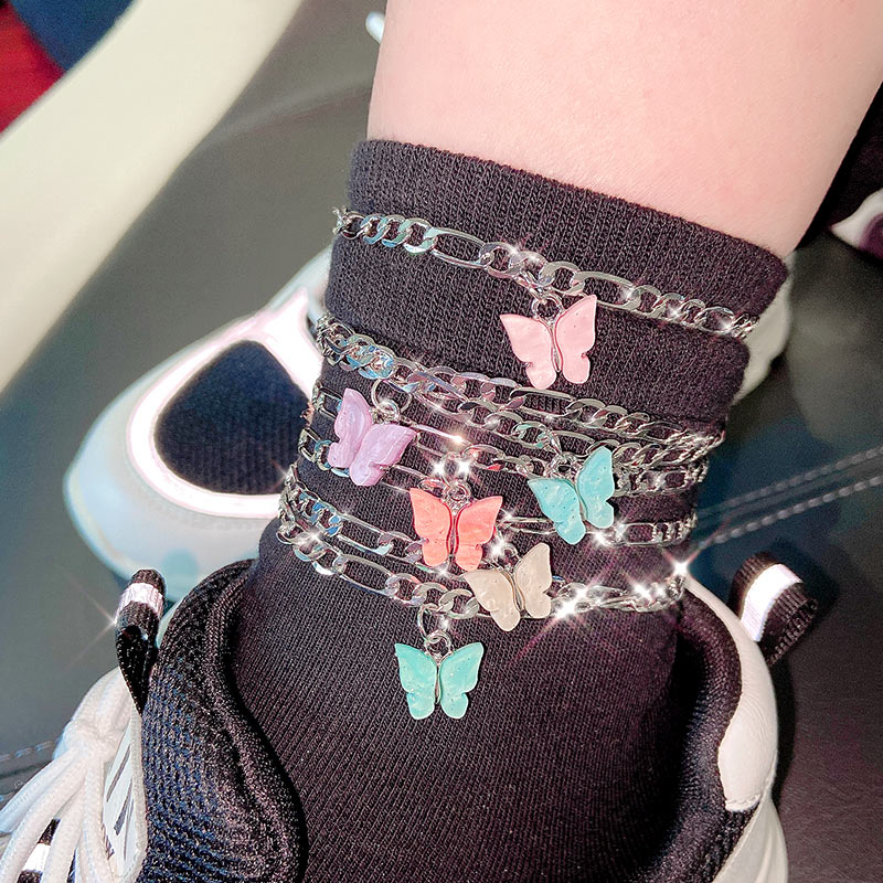 Flatfoosie 2Pcs/Set Lovely Butterfly Silver Color Anklet For Women Copper Leg Bracelet Summer Barefoot Sandals Jewelry Gift