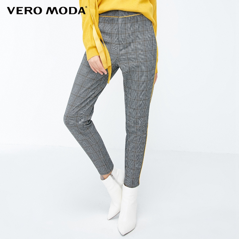 Vero Moda 2019 New Arrivals Houndstooth Pattern Selvaged Slim Fit Casual Pants   318365504