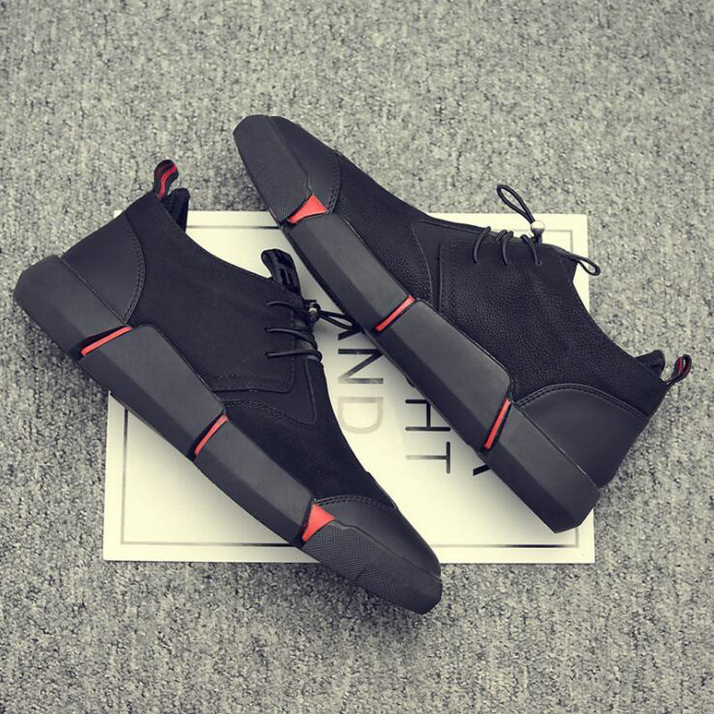 2019 Lace-Up Men's Leather Casual Black Shoes Fashion Breathable Fashion Flats Big Plus Size Men Designer Sneakers High Quality