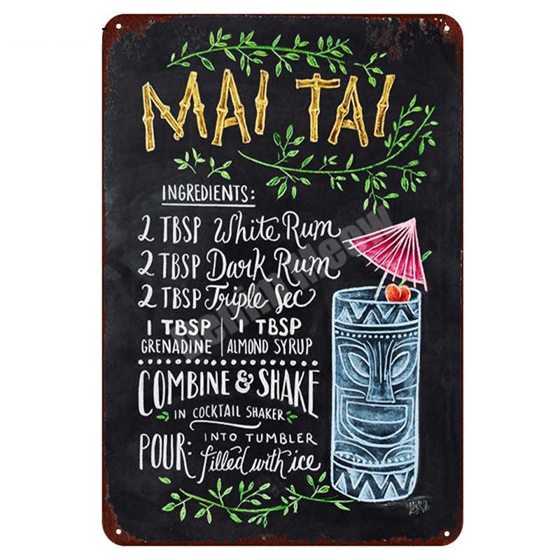Tiki Bar เปิดฤดูร้อนเบียร์ Retro โลหะดีบุกป้าย Mojito Martini คิวบา LIBRE ค็อกเทล Plaque PUB Bar ศิลปะสติกเกอร์ผนัง decor N082