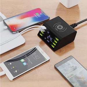 Image 2 - רב 8 יציאת אלחוטי USB מטען 60W LED תצוגת מהיר תשלום מהיר תחנת טעינה עבור iPhone 7 8 XR סמסונג S8 S9 S10 Huawei