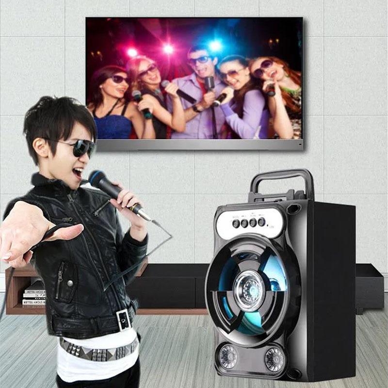Suporte portátil do microfone do subwoofer do baixo do sistema do orador sem fio de bluetooth do orador do karaoke mãos-livres/usb/cartão do tf/aux/fm