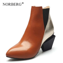 NORBERG Fashion Brand Women shoes Ankle Snow Boots Warm High Heels Ladies Shoes Woman Leather Party Wedding Pumps Basic Genuine fedonas high quality women cow suede ankle boots rhinestone wedding party shoes woman wedges high heels short martin shoes woman