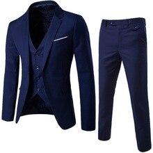PUIMENTIUA 3 Pieces Business Blazer +Vest +Pants Suit Set Men Autumn Fashion Solid Slim Wedding Set Vintage Classic Blazers Male