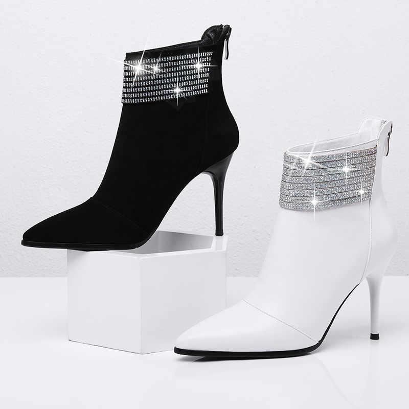 Çizmeler kadın 8.8cm beyaz patik kadın deri yarım çizmeler kadınlar için