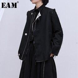 Женская куртка с длинным рукавом [EAM], черная Свободная куртка большого размера с круглым вырезом, весна-осень 2020, 19A-a740