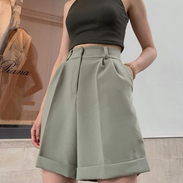High Waist Shorts Women's Summer 2021 Elegant Soft Solid Color Loose Shorts with Pockets for Ladies Casual Short Femme Trousers 3