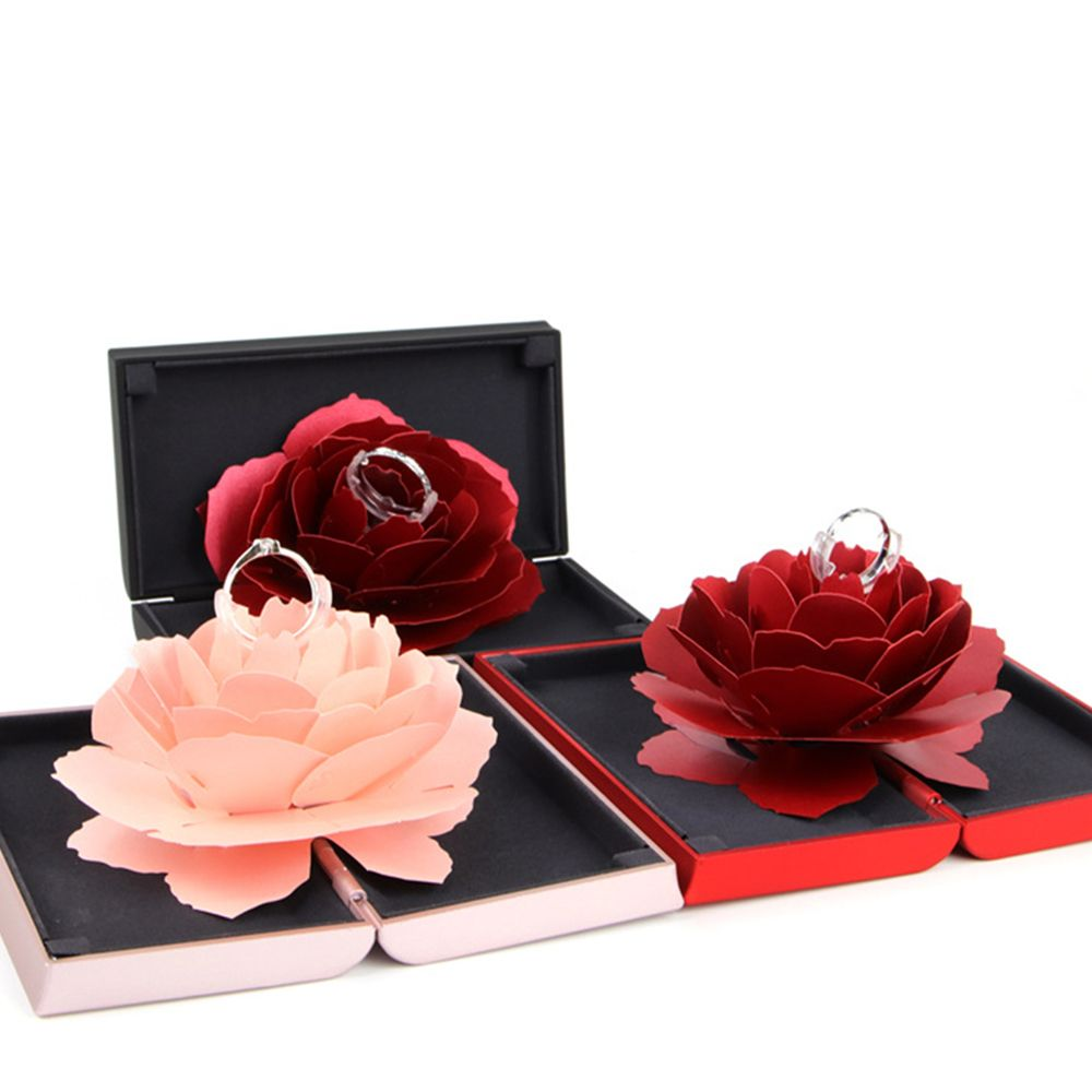 Hot New Unique Pop Up Rose Wedding Engagement Rings Box Surprise Jewelry Storage Holder Valentine's Day Best Gift Boxes For Wome