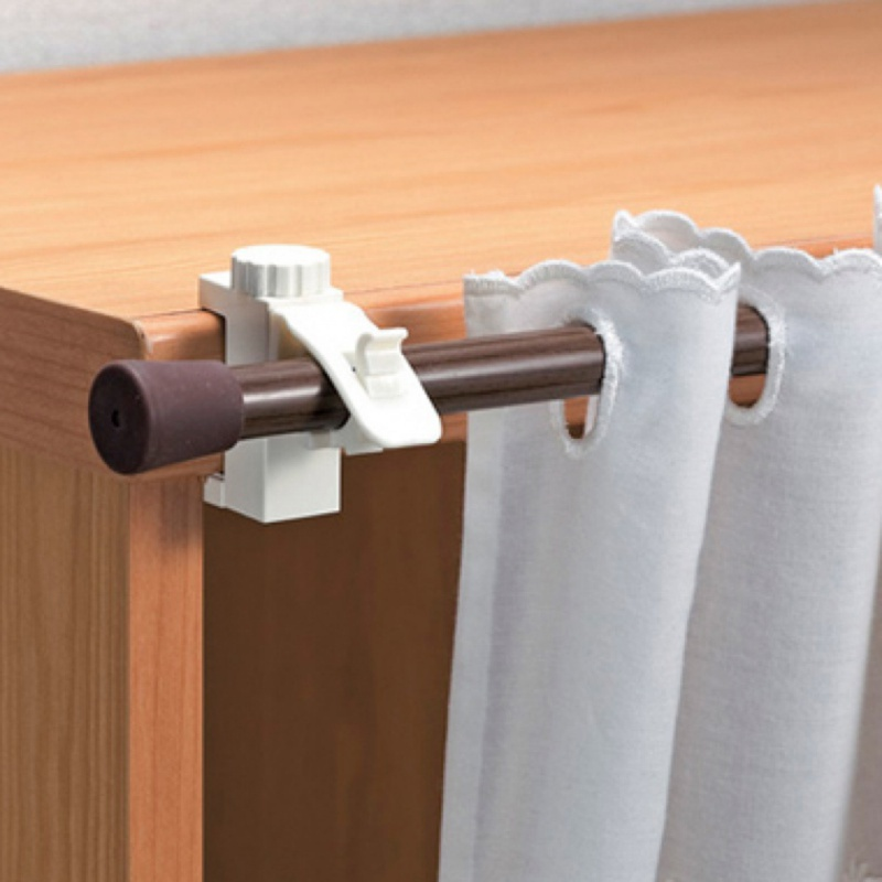 2pcs/pack Adjustable Curtain Rods Bracket Crossbar Rod Support Clamp Holder Towel Storage Rack Hanging Hook For Home Organizer