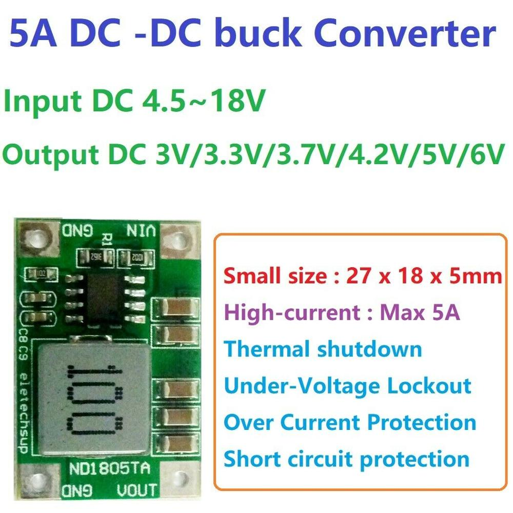 5A DC-DC Converter Step-Down Buck Module 4.5-18V To 3V 3.3V 3.7V 4.2V 5V 6V Voltage Regulator Power Battery Charger Motor LED