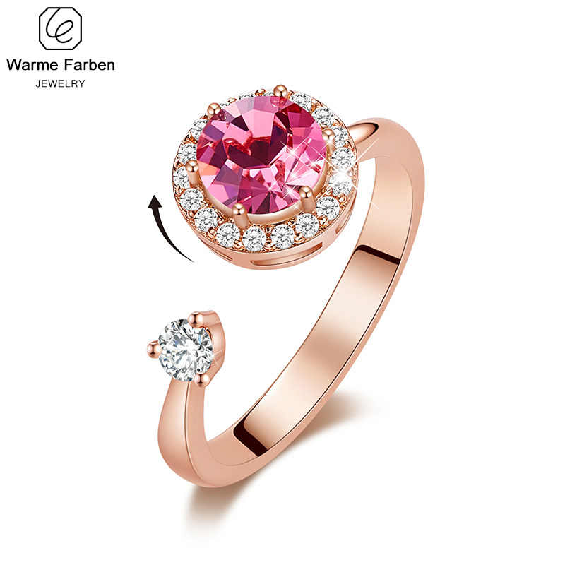 Warme Farben Women Gold Rings Made with Swarovski Crystals Adjustable Ring Ringen Rose Gold Jewelry Romantic Gifts for Lady