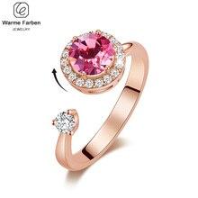 Swarovski kristalleri ile süslenmiş kadınlar gül altın yüzükler ayarlanabilir yüzük Ringen takı romantik bayanlar için hediyeler
