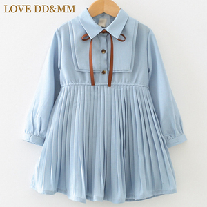 LOVE DD&MM Girls Dresses 2020 New Girls Clothing Sweet Temperament Pleated Waist Long-Sleeved Chiffon Long Cute Dress(China)
