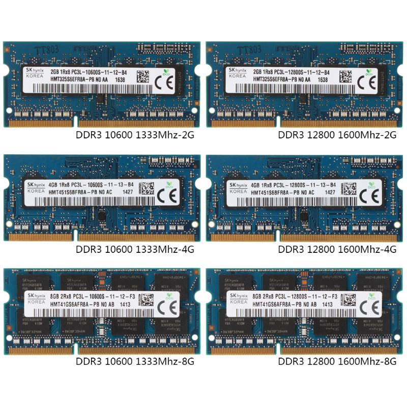 2GB/4GB/8GB DDR3 PC3-10600U PC3-12800S 1333Mhz 1600MHz PC10600 PC12800 DIMM Module For Hynix Chipset Laptop Notebook Memory RAM