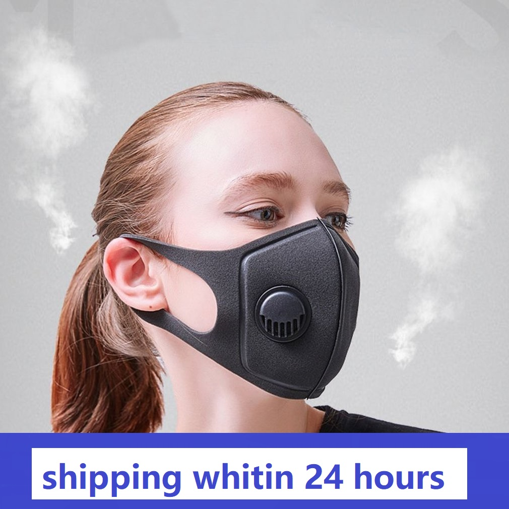 Washable Mask With Breathing Valve Single Valve Breathable Facial Protective Cover Masks Sponge Mask 2 Layers 2020 Hot Sale