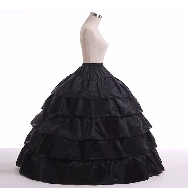 5-layer Lotus Leaf Skirt Bride Wedding Dress Petticoat Lolita Drawstring Adjustable High Waist Long Chemise N84D