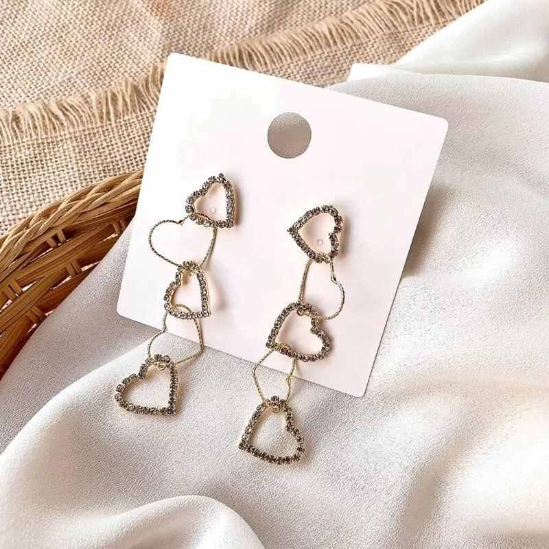 MENGJIQIAO New Korean Rhinestone Heart Long Drop Earrings For Women Girls Shiny Crystal Holiday Pendientes Mujer Moda Jewelry
