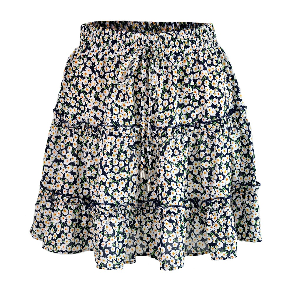 Summer Floral Print Boho Sexy Mini Skirt Women Bandage Fashion High Waist Frills Short Skirt For Women Plus Size Pleated Skirts