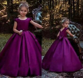 Purple A Line Simple Satin Girls Pageant Dresses Back Big Bow Zipper Elegant Floor Length Flower Girl Dresses for Party Gown