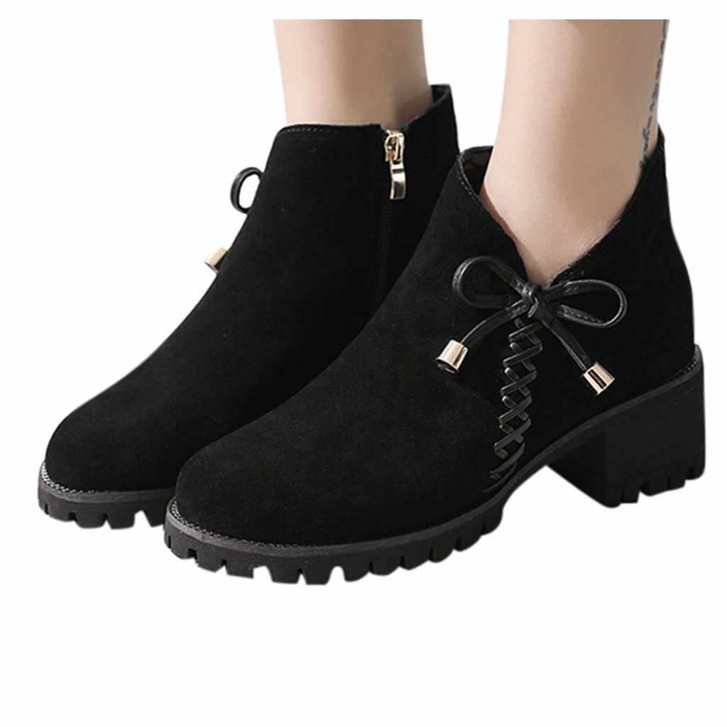 2019 บู๊ทส์แฟชั่น Faux Suede ขนาด 36-42 หนังเปิด Peep Toe รองเท้าส้นสูงซิปสแควร์ผู้หญิงสีดำรองเท้า