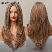 HENRY MARGU Long Straight Synthetic Wigs Brown Blonde Highlight Wigs for Women Natural Cosplay Middle Part Heat Resistant Wig