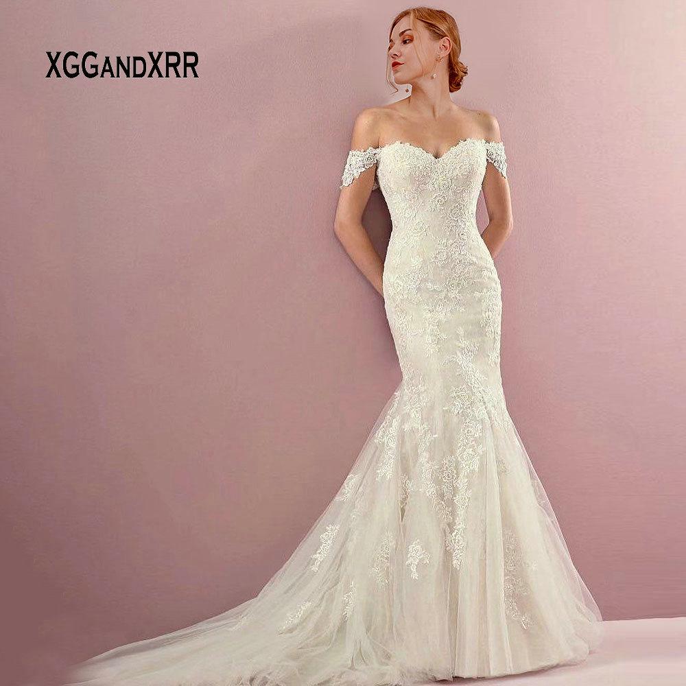 Elegant Lace Mermaid Wedding Dress 2019 Bride Dresses Sweetheart Off The Shoulder Sexy Backless Long Vestido De Noiva Gelinlik