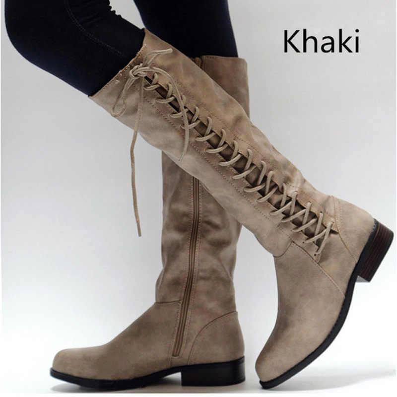 Moda bayan botları dantel-up diz çizmeler kadın kışlık botlar kar botları Bota kadın kış ayakkabı kadın ayakkabı Botas Mujer
