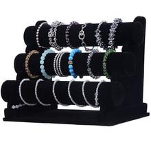 Black Velvet 3 Tier Jewelry Bracelet Watch Bangle Display Holder Stand Showcase T bar Storage Necklace Bangle Organizer