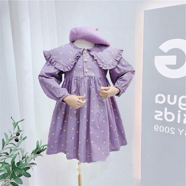 2020 Autumn New Arrival Girls Long Sleeve Princess Dress Kids Cotton Floral Dresses 1