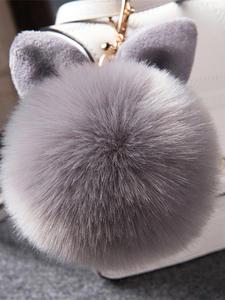 Keyring Keychains Pom-Pom Fluffy Bag Porte-Clef Pompom-De-Fourrure Rabbit-Fur-Ball Fake
