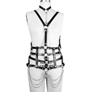 Image 5 - Fullyoung talia Pu skórzana uprząż Bondage pas Punk klatki piersiowej ciała szelki pasy kobiety Sexy ciała klatka pasy bielizna Harajuku