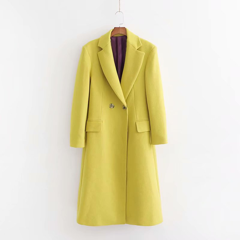 2019 Autumn Double Breasted Long Sleeve Solid Color   Trench   Outwear Coat