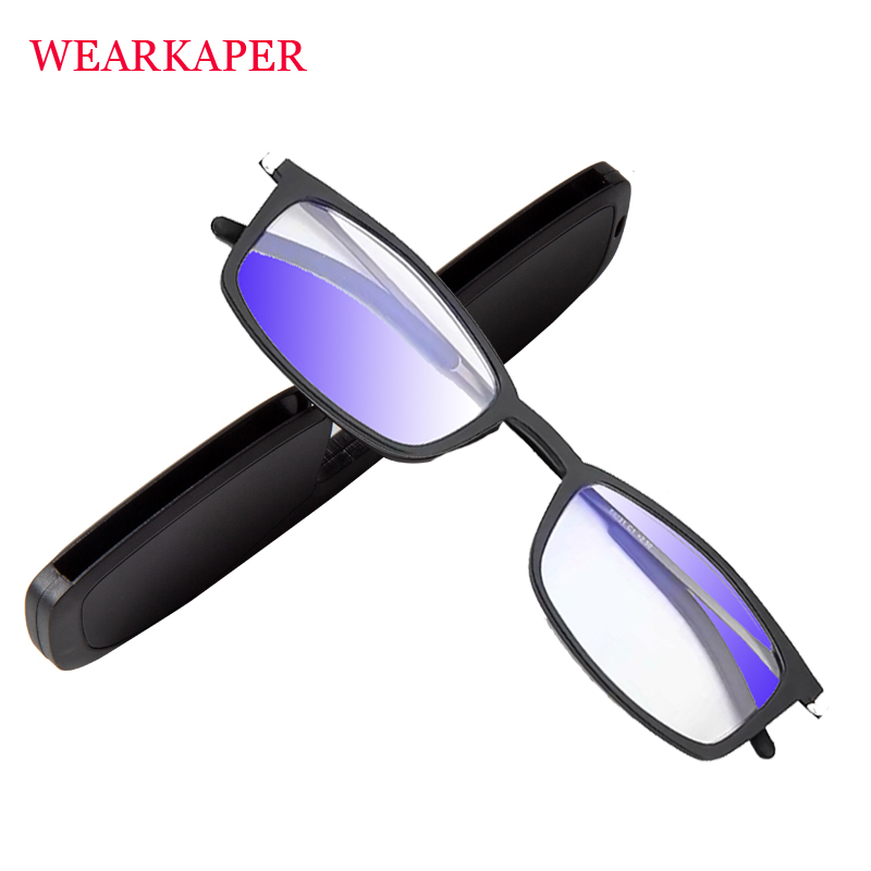 Ultra-thin Portable Key Chain Reading Glasses Unisex Paper Type Anti-blue Light Folding Hyperopia Spectacle 1.0-3.5