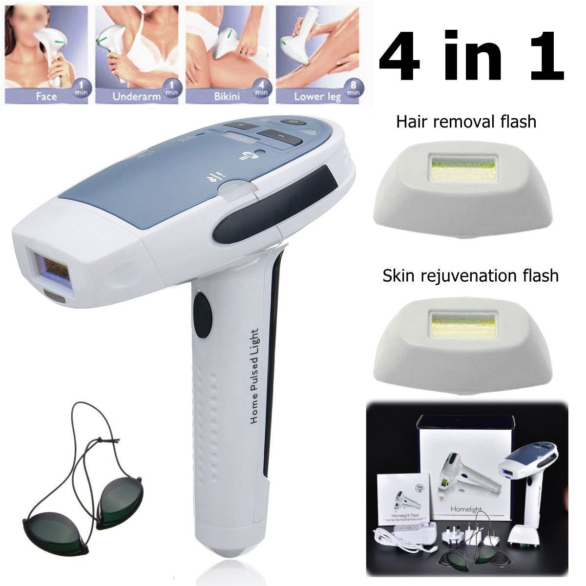 4 In1 IPL Permanent Laser Hair Removal Machine Full Body Epilator Home Use Remover Depilator Bikini Electric Trimmer Depilador