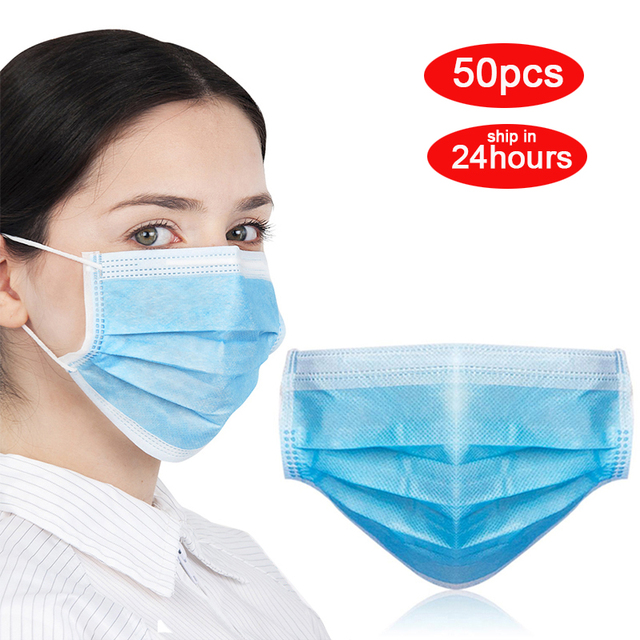 50pcs High Quality 3 Layers Disposable Masks Face Mouth Masks Antivirus Bacterial Flu Earloop Mask Breathable Respiratory