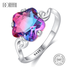 DOTEFFIL New High-quality Pure 925 Solid Silver Flower Wedding Rings for Women Colorful Topaz Stone Luxury Jewelry Anillo Mujer