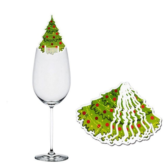 10pcs Santa Claus Snowman Tree Wine Glass Cards 2019 Merry Christmas Decoration For Home Table Ornaments Xmas Gift 2020 New Year 18