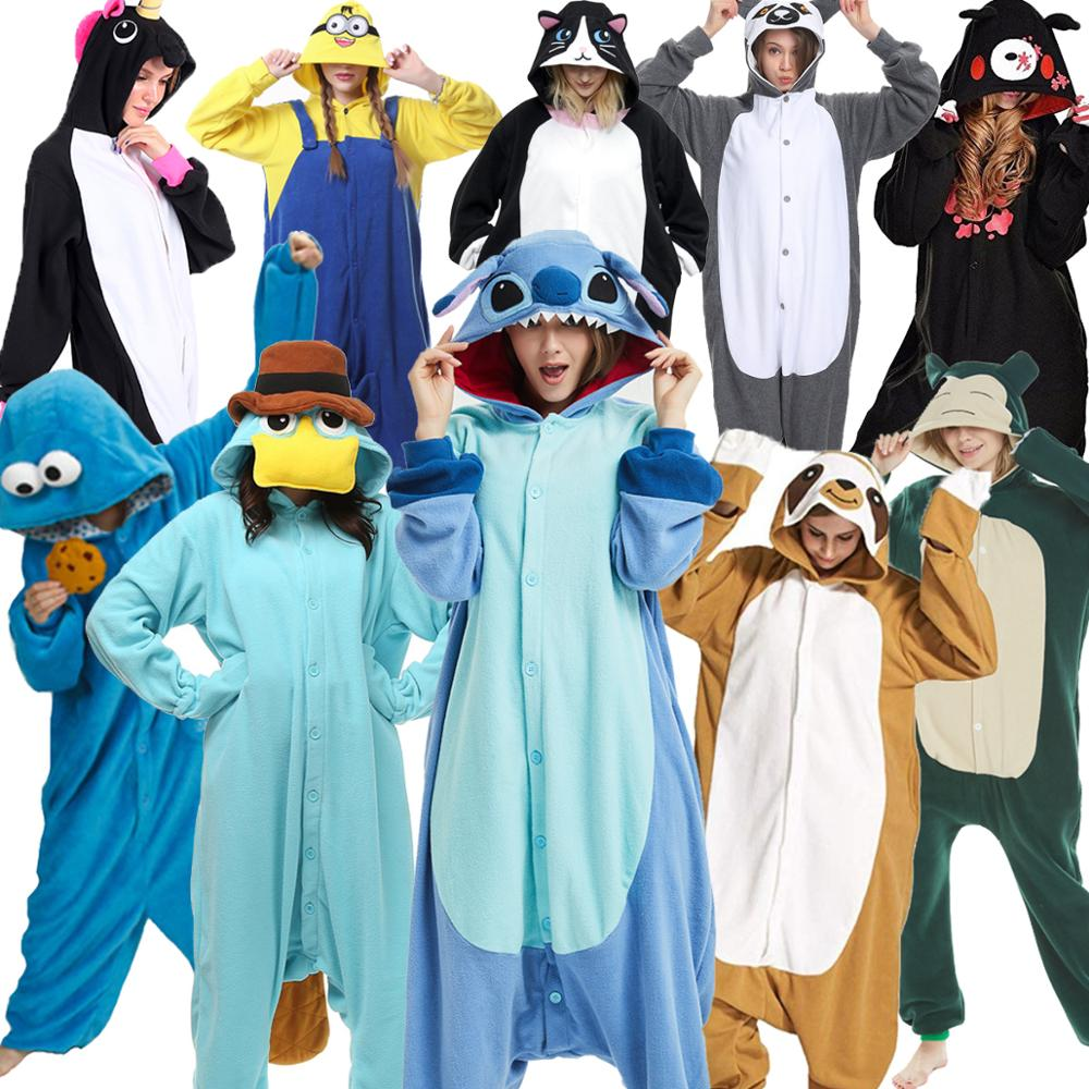 Kigurumi Adults Pyjama Winter Women Animal Pajamas Women Sleepwear Suits Cosplay Shark Lemur Stitch Garments Cartoon Pijama