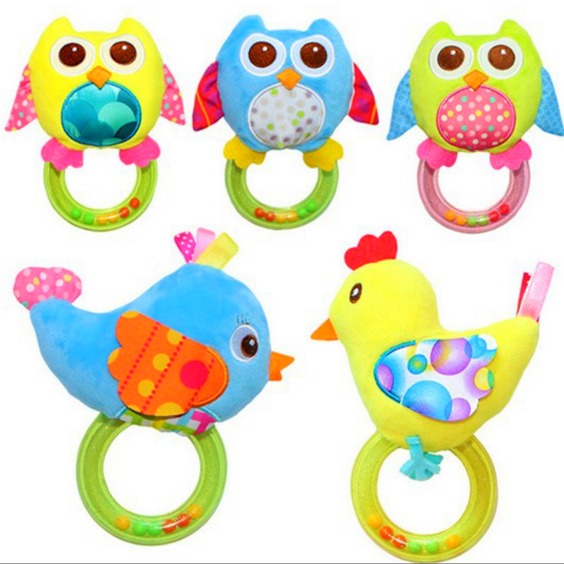 Baby Newborn Rattle Toys Plush Baby Cartoon Bed Toys For 0-12 Months Educational Baby Rattle ToyS Animal Hand Bells Baby Gift
