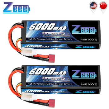 2units Zeee Lipo Battery 6000mAh 2S 80C 7.4V with Deans Plug Hardcase Lipo Battery for RC Car Vehicle Truck Tank Slash Truggy