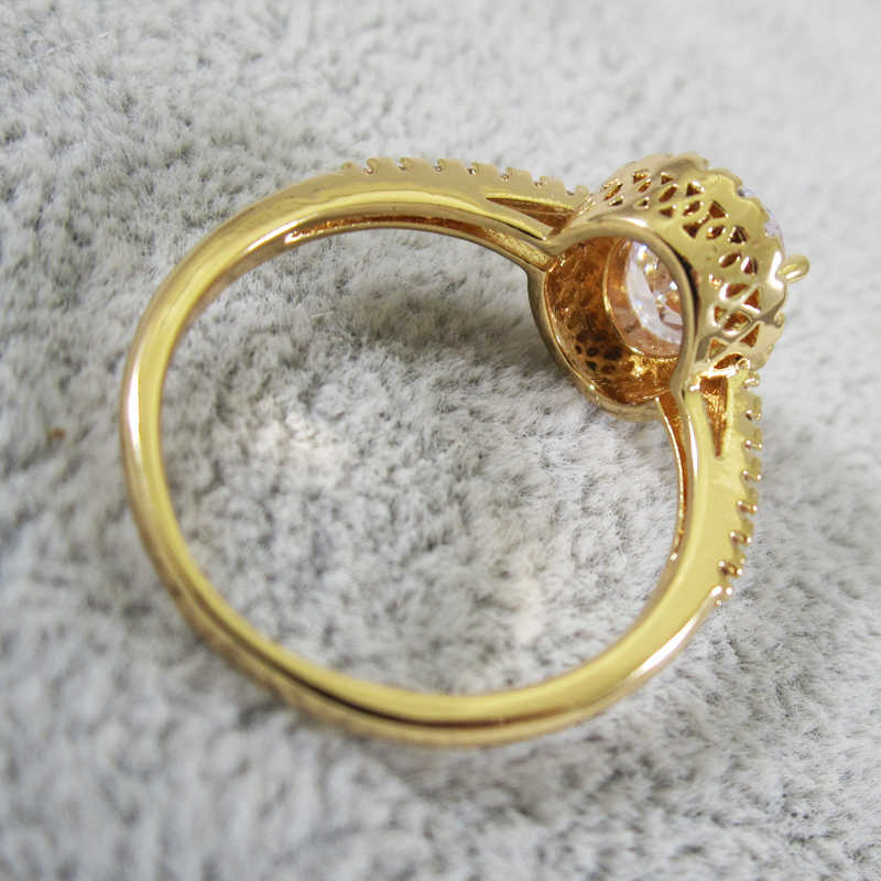Anel de cristal redondo de ouro requintado estilo simples feminino noivado dedo amor anel senhoras moda anel de casamento jóias presente