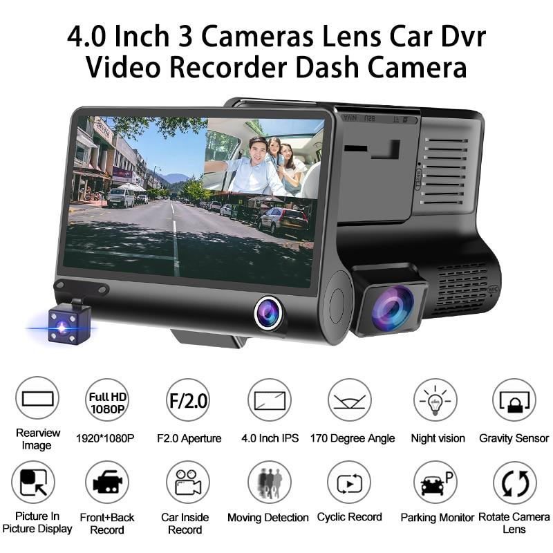 Image 2 - E ACE Car DVR 3 Cameras Lens 4.0 Inch Dash Camera Dual Lens With Rearview Camera Video Recorder Auto Registrator Dvrs Dash Cam-in DVR/Dash Camera from Automobiles & Motorcycles