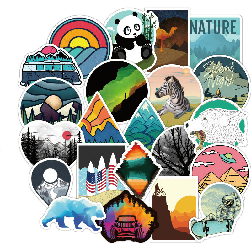 50PCS Camping Travel Stickers Wilderness Adventure Outdoor Landscape Waterproof Decal Sticker To DIY Suitcase Laptop Motor Car