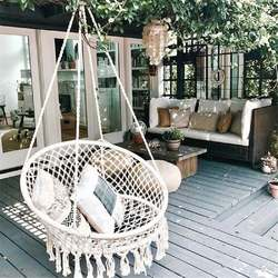 Круглый гамак в скандинавском стиле для улицы, спальная кровать, подвесное кресло для детей, для взрослых, качающийся одиночный гамак, 2 цвет...