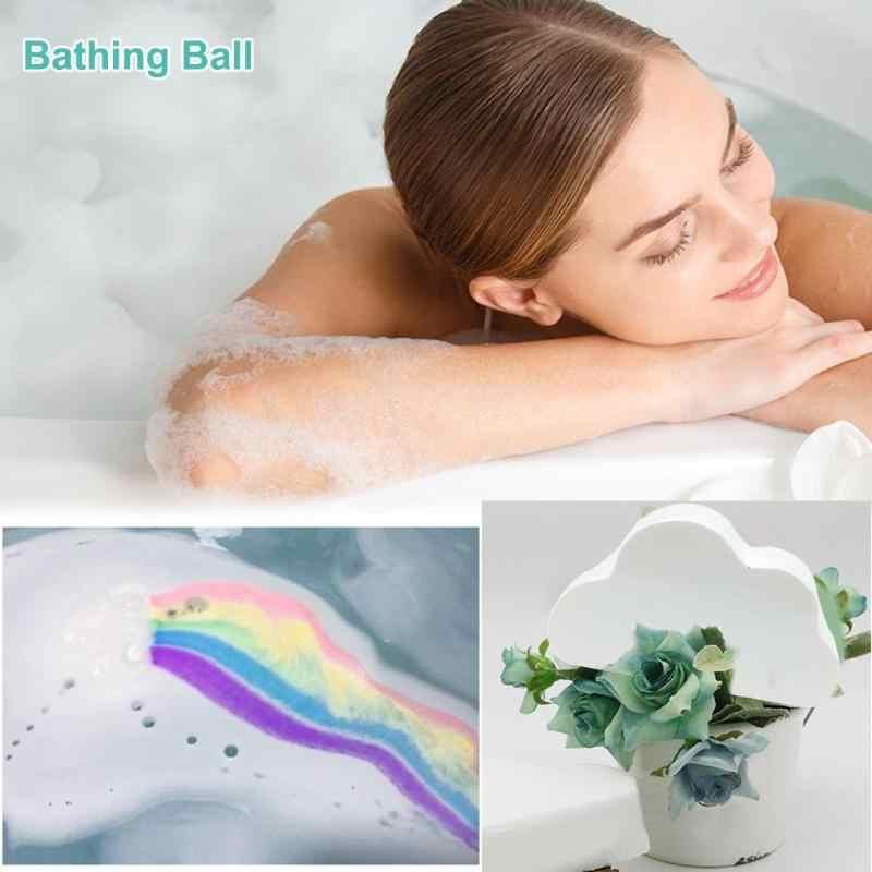 Natürliche Regenbogen Wolke Salz Ätherisches Öl Bade Ball Blase Peeling Feuchtigkeitsspendende Hautpflege Requisiten Blase Bad Bomben Ball Neue