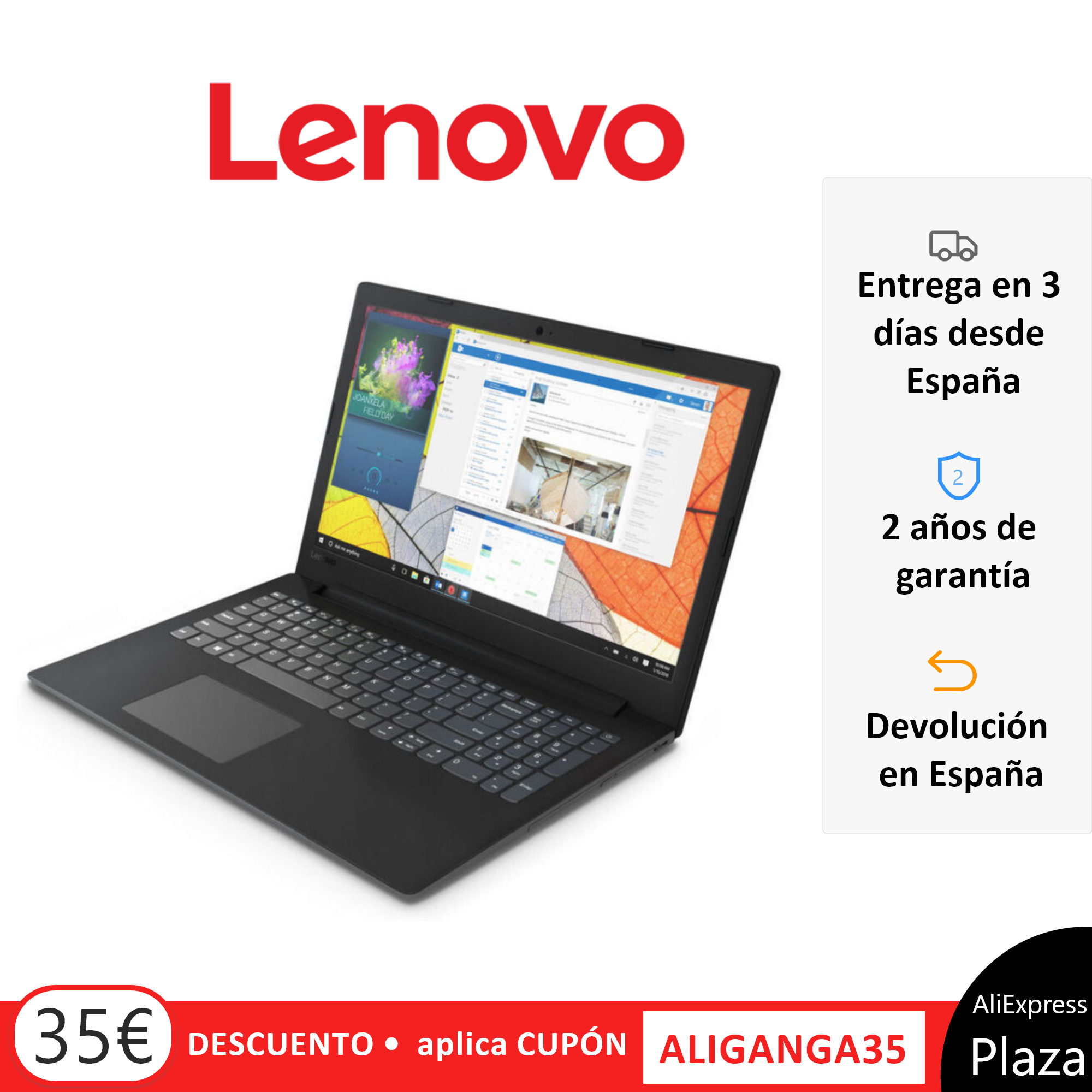 LAPTOP 15 ''-LENOVO V145-15AST-AMD A9-9425/8 GBGB/256 SSD/RADEON R5- Windows 10 Home FHD Keyboard Spanish Dictionary