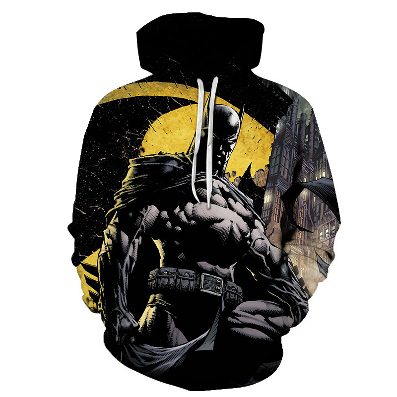 2019 New Batman 3D Print Casual Hoodies Super Hero Cartoon Sweatshirt With Cap Comics Men Zipper Clothing Autumn Fashion