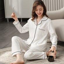 Kış % 100% pamuk Pijama kadınlar için sonbahar tam kollu katı beyaz Pijama Mujer Invier saf pamuklu Pijama pembe Pijama Femme